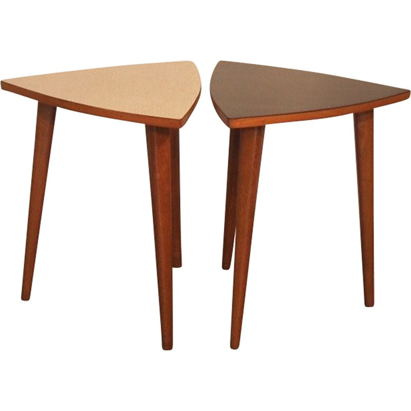 Pair of vintage Tripod Side Tables in Formica, 1950s