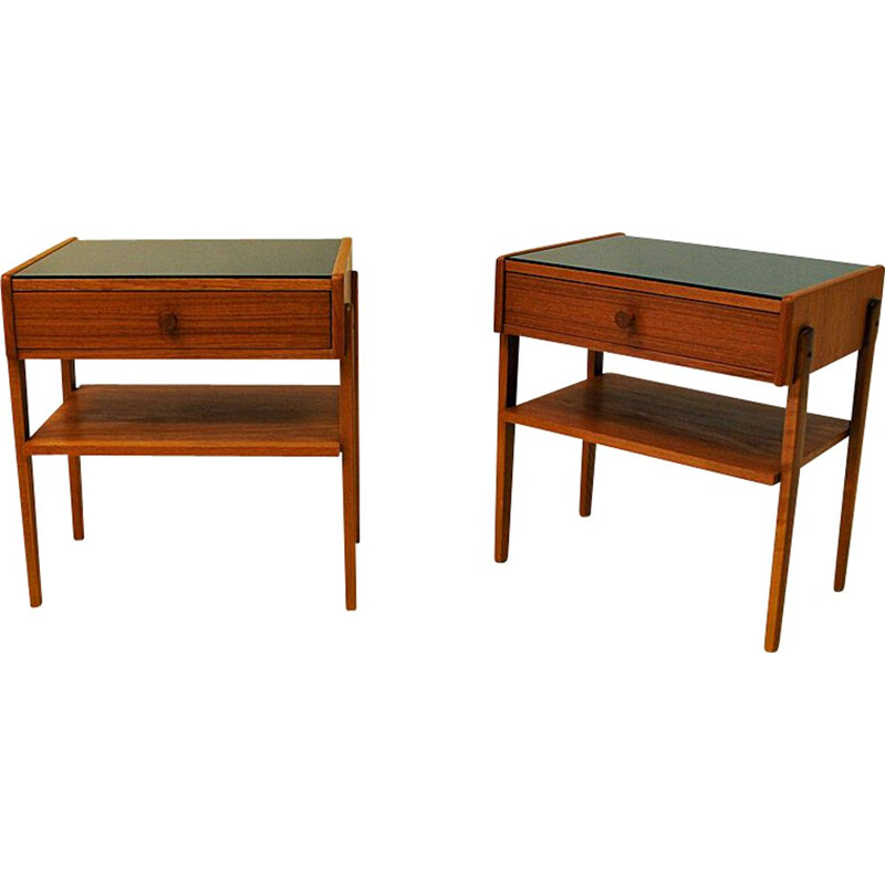 Midcentury pair of Teak and Glas top night tables -Sweden 1960