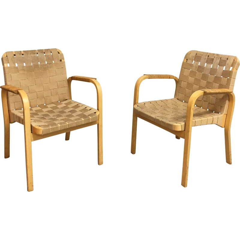 Pair of vintage armchair Alvar Aalto model 45 1950