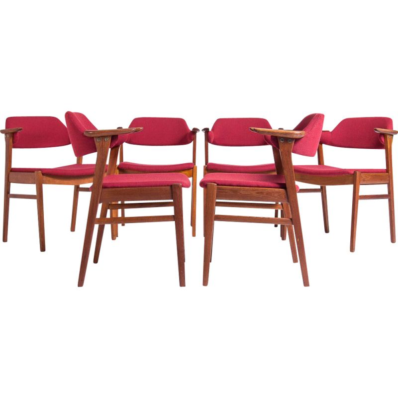Set of 6 Mid Century Dining Chairs in Teak by C.E. Ekstrom, Swedish 1950s