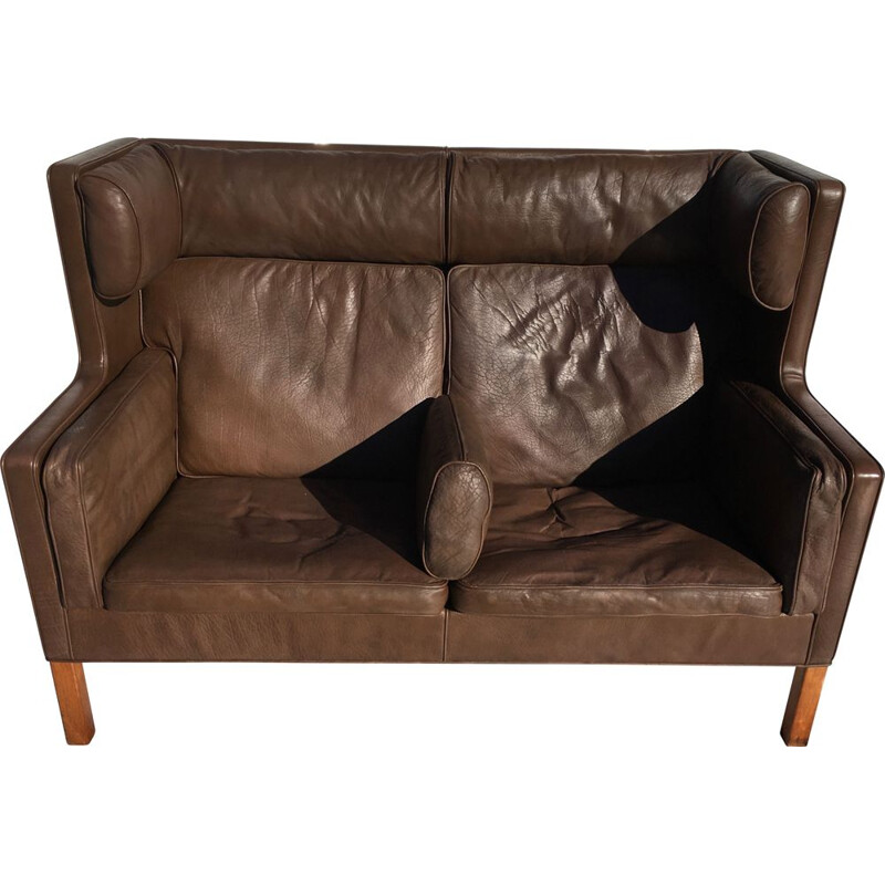 Vintage brown leather sofa Borge Mogensen coupé 2192