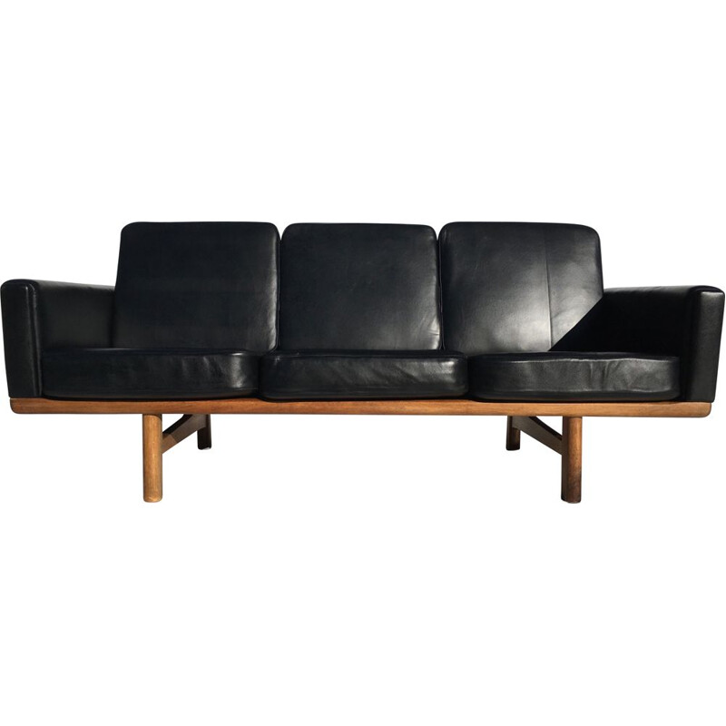 Vintage black leather sofa H.J.Wegner Getama
