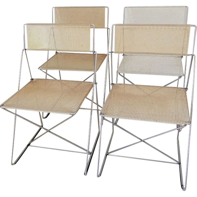 Suite of 4 vintage Xline chairs by Jørgen Haugesen