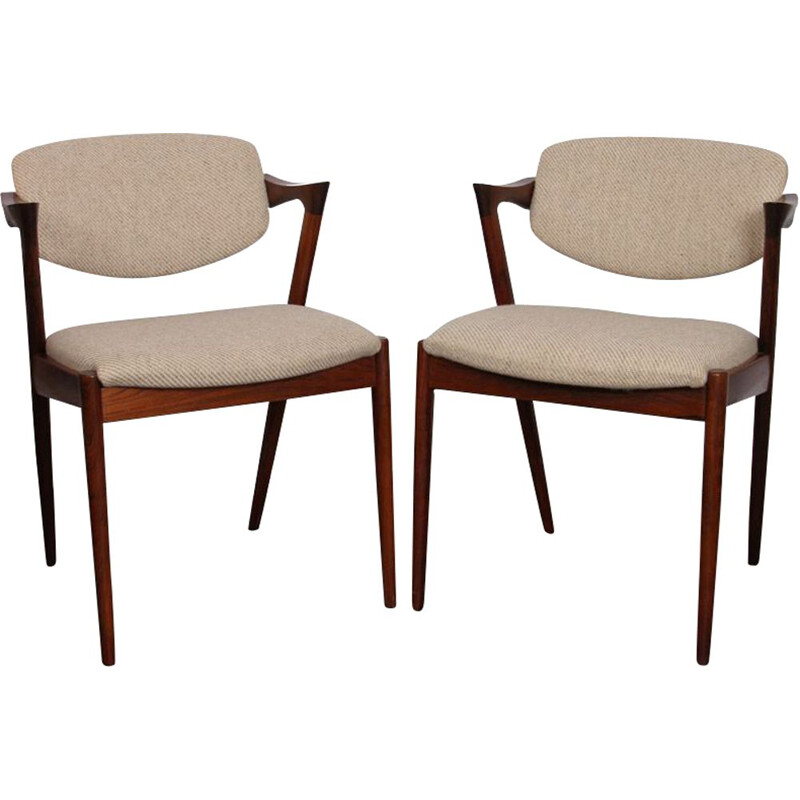Pair of vintage chairs by Kai Kristiansen, model 42, 1960