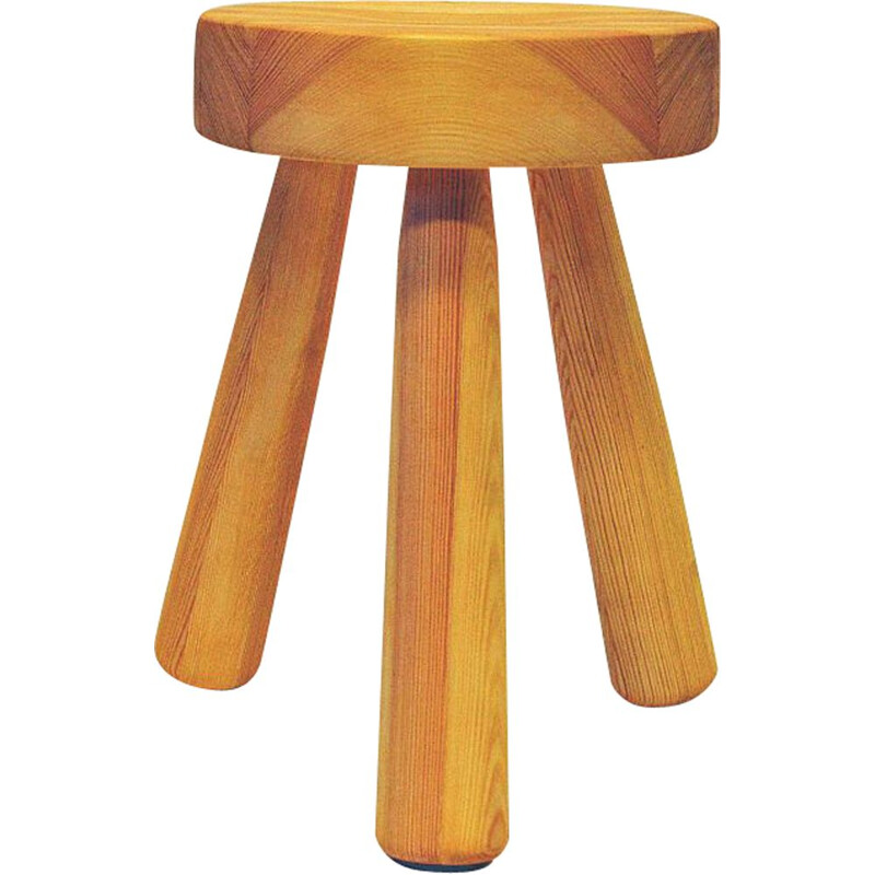Vintage Pine stool by Ingvar Hildingsson Swedish 1970s