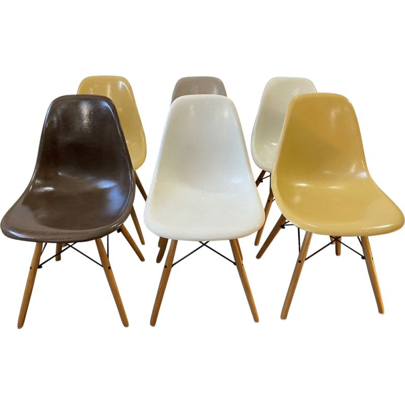 Set of 6 vintage chairs dsw brown greige Eames for Herman Miller 1970