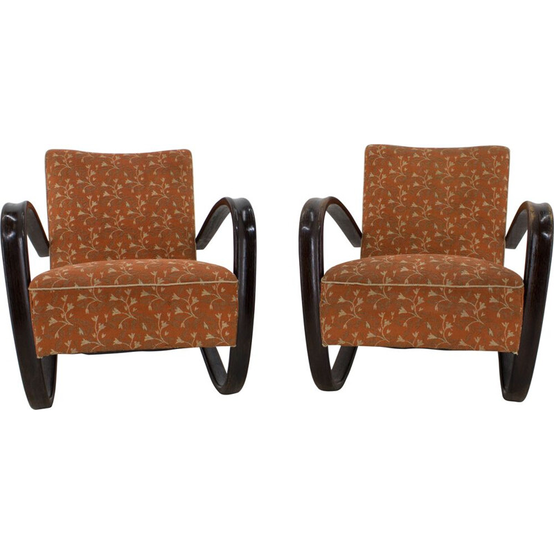 Pair of Vintage Armchairs H 269 by Jindrich Halabala 1930s