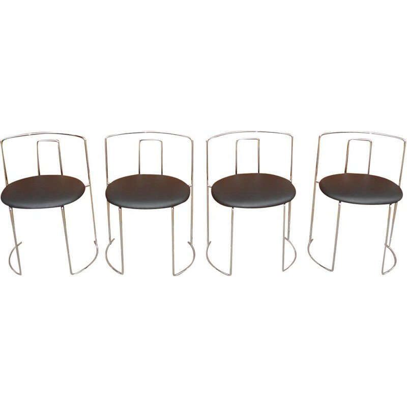Set of 4 chairs vintage Italy 1970s