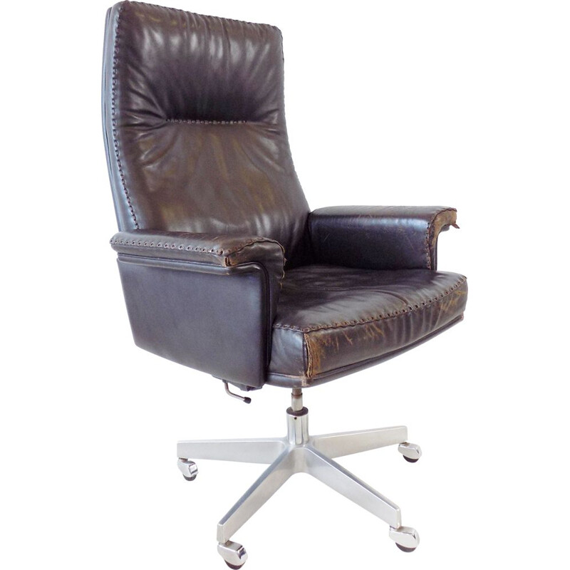 Vintage office chair De Sede DS 35 dark brown leather 1960s