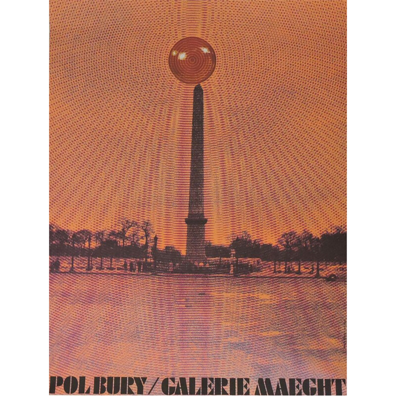 Vintage Bold Pol Bury Kinetic Galerie Maeght Poster, French 1970s
