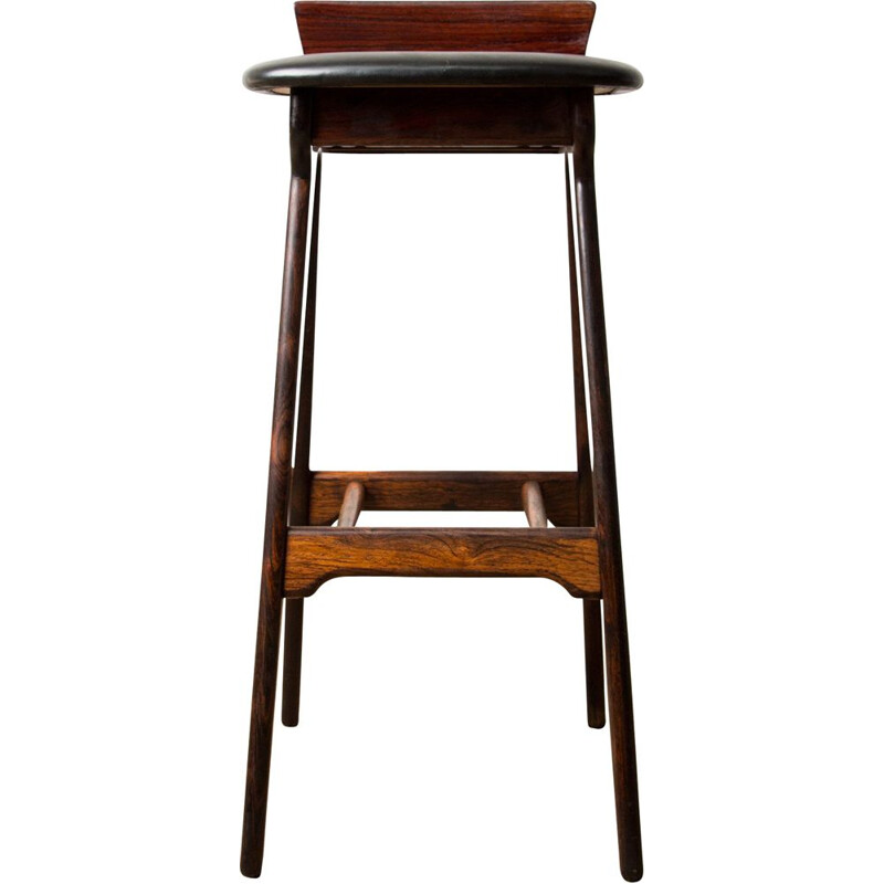 Vintage high bar stool in Rosewood by Erik Buck Danish 1960