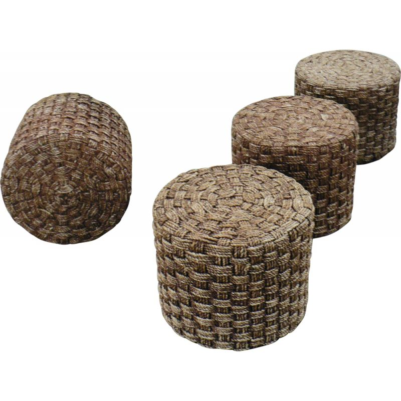 Set of 4 vintage wood and rope poufs 1950