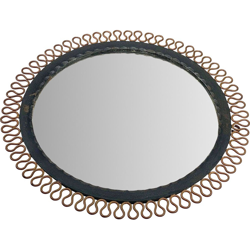 Vintage metal and wrought iron mirror by Josef Frank, 1960
