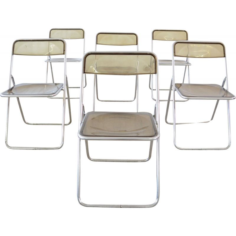 Set of 6 vintage transparent and chrome space age folding chairs