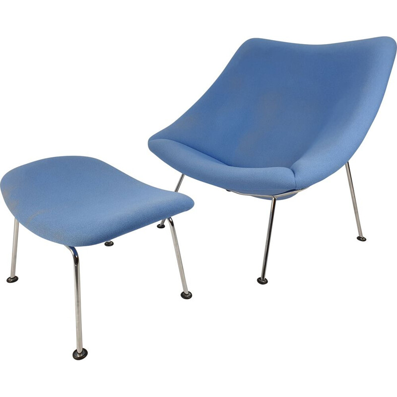 Vintage Oyster Chair with Ottoman by Pierre Paulin for Artifort, 1980s