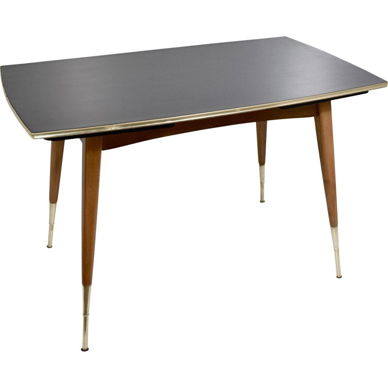 Vintage table with dining room or living room system, wood, extensions 1960