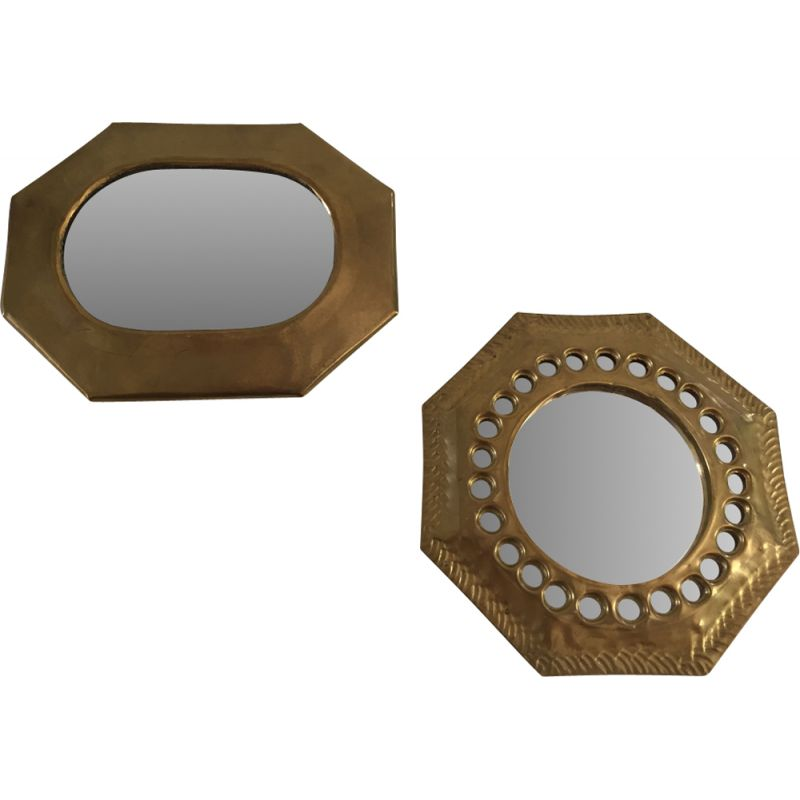 Duo of 2 Small Vintage Mirrors Brass