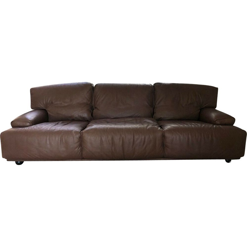Vintage 3-seater brown leather sofa Brunati 1980