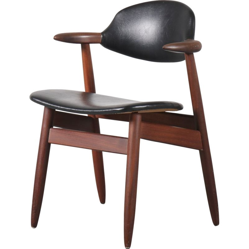 """Vintage """"Cowhorn"""" dining  desk chair by Tijsseling from the Netherlands 1950s"""