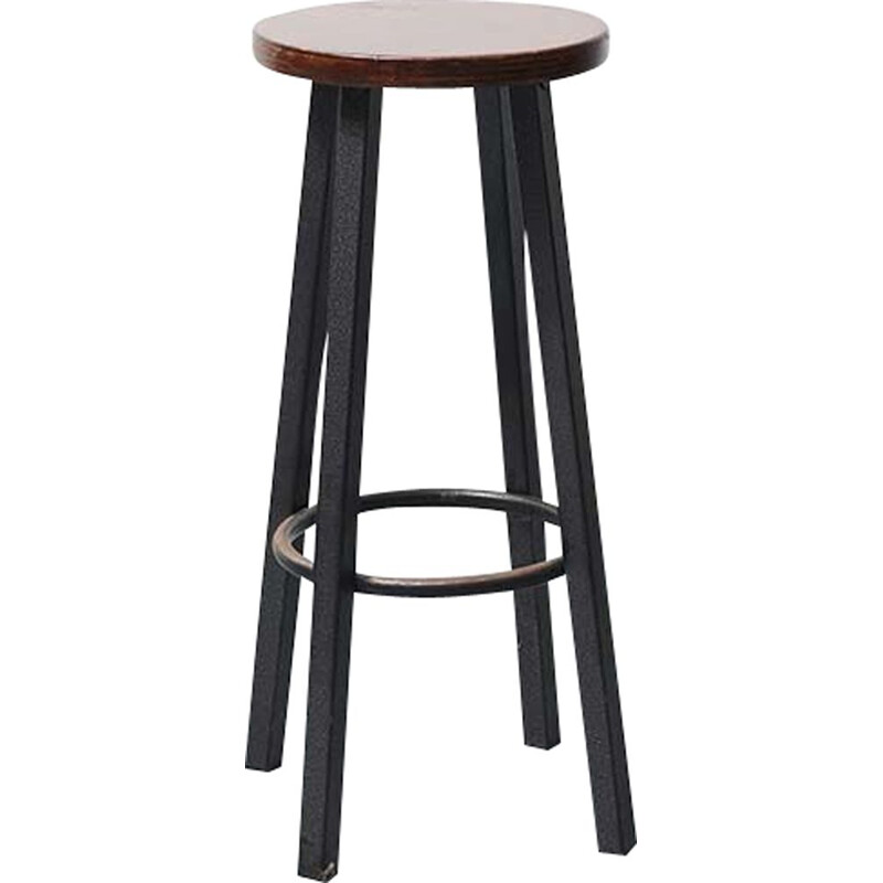 Vintage bar stool Ebony Metal 1960