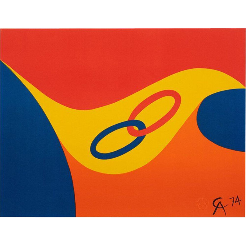 Vintage Friendship Limited Edition Lithograph by Alexander Calder, 1974