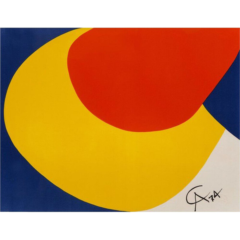 Vintage Convection Limited Edition Print Lithograph by Alexander Calder, 1974