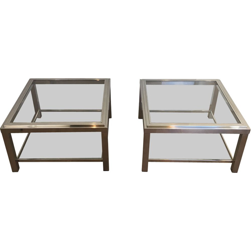 Pair of ImportantVintage Chrome Sofa Ends  1970s