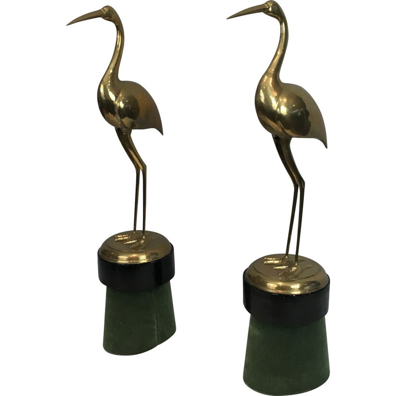 Pair of Important Vintage Brass Decorative Ibis on Wooden Bases 1970