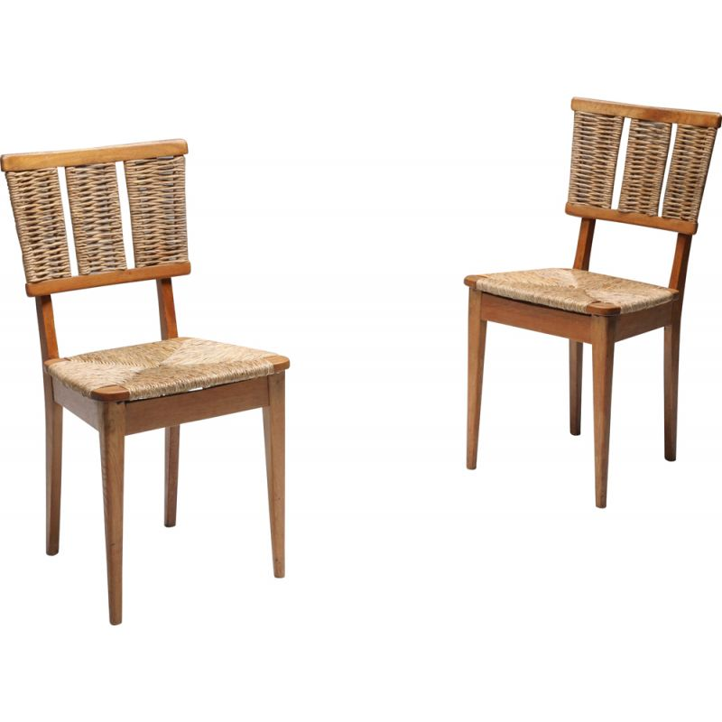 Vintage 'A2-1' Chair in Oak and Straw Mart Stam 1947
