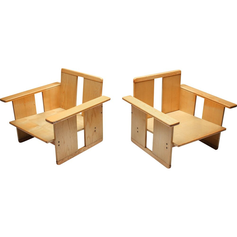 Pair of Vintage Scarpa crate chairs Maxalto Afra & Tobia 1970s