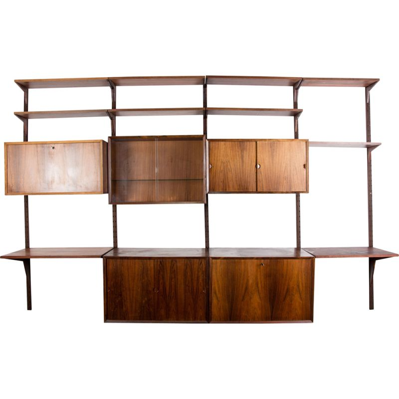 Vintage large modular shelf in Rio Rosewood by Poul Cadovius Danish Poul 1960