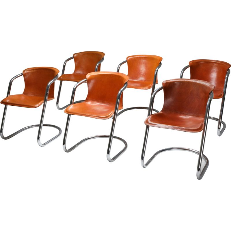 Set of 6 Vintage tan leather chairs for Cidue 1970s