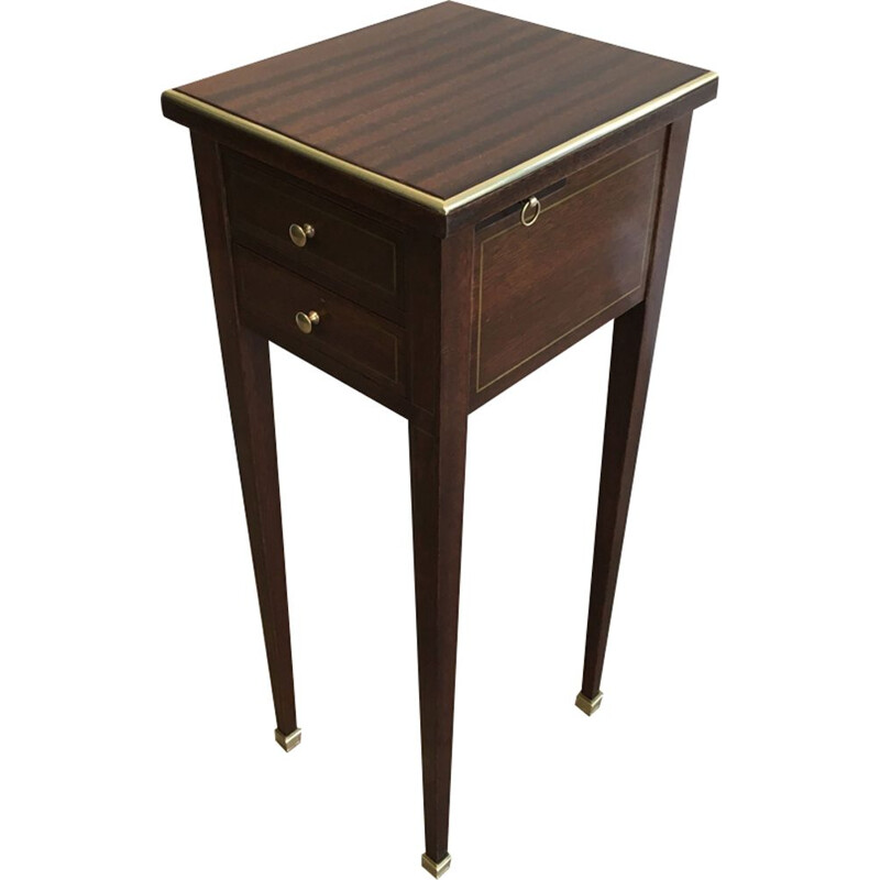 Small Neoclassical Vintage Mahogany and Brass Table with drawers and pull-outs revealing 2 Ashtrays 1940