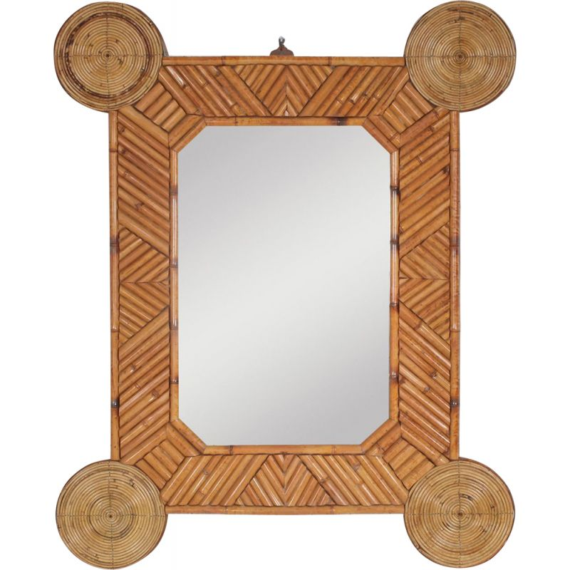 Vintage mirror Bamboo and rattan by Arpex 1970s