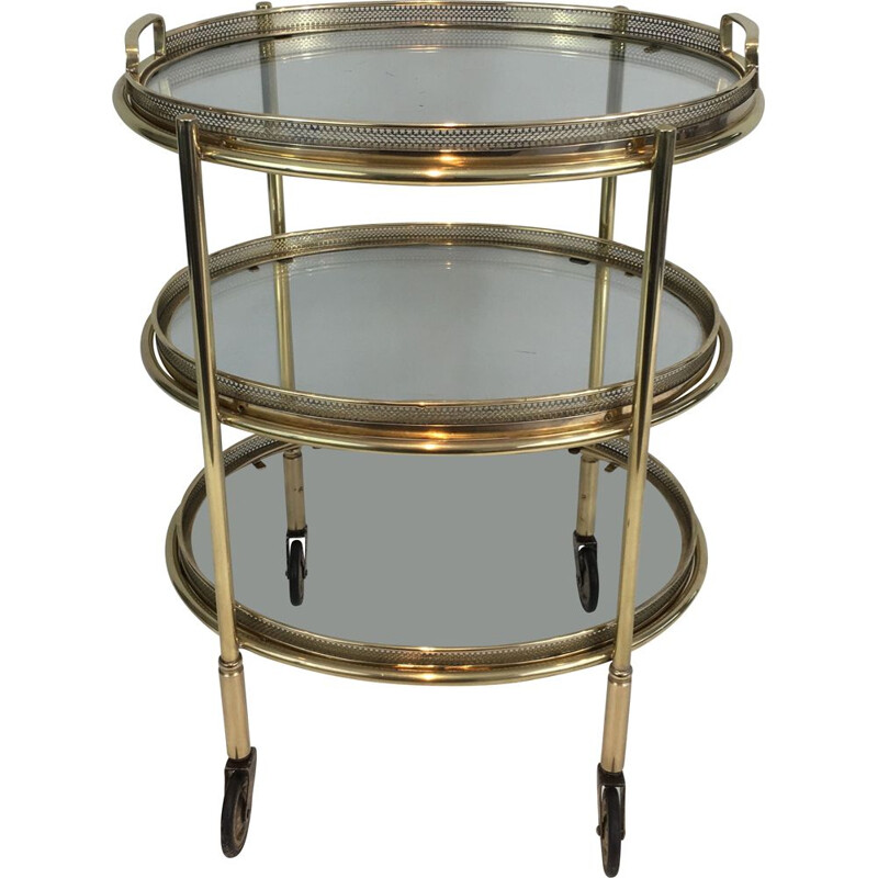 Small Vintage Rolling Oval Table in Brass with 3 removable tops 1940