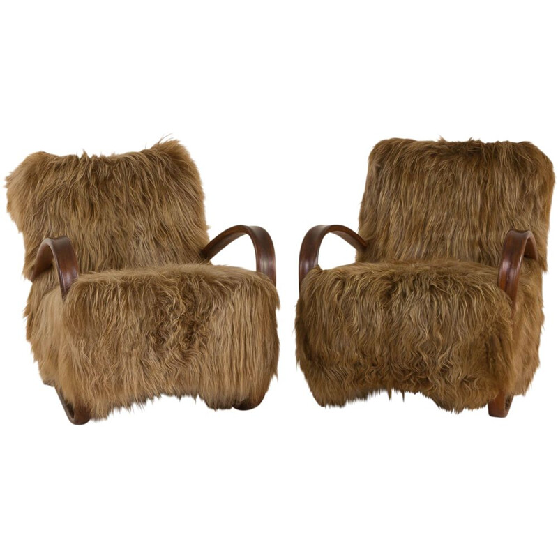 Vintage lounge chair in long hair sheepskin Halabala 269, 1930s