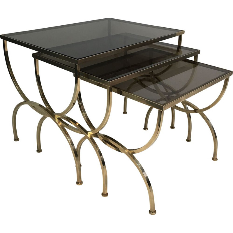 Set of 3 vintage Brass Nesting Tables with Smoked Glass Tops, 1940