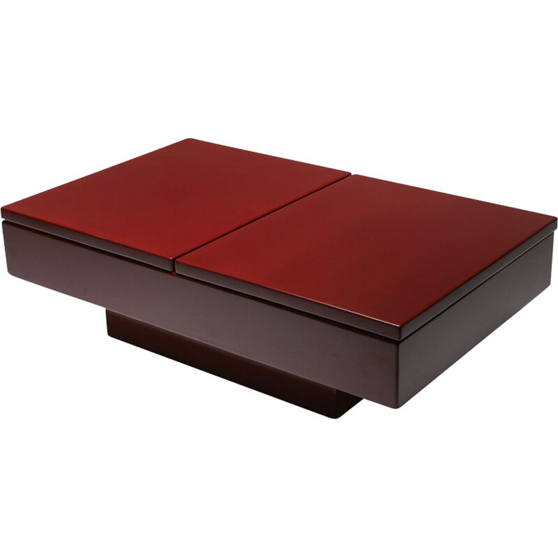 Vintage Coffee Table Red Lacquered Sliding, Jean Claude Mahey - 1980s