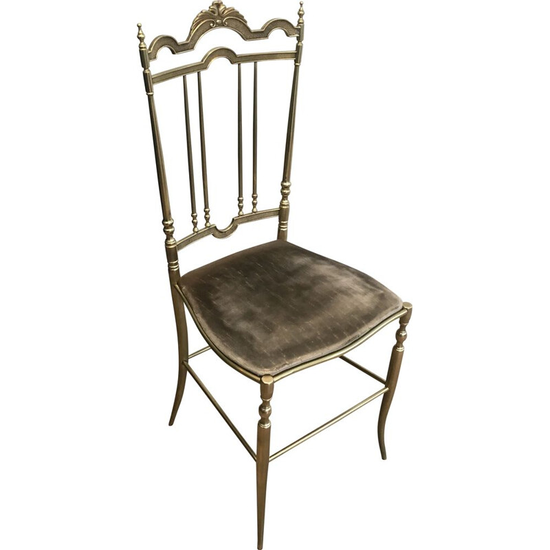 Set of 4 Vintage Chairs Neoclassical Brass, 1970s