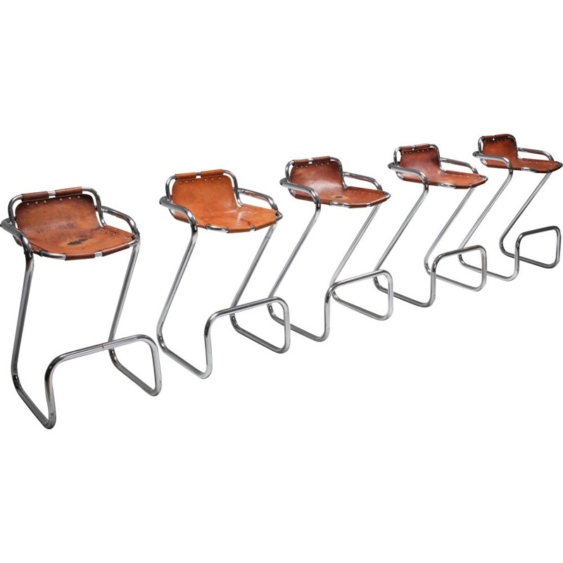 "Set of 5 Bar Stools in th ""Les Arcs"" style - 1960s"