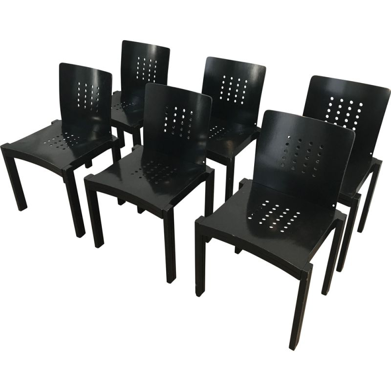 Set of 6 Vintage Black Lacquered Wood Chairs,1993