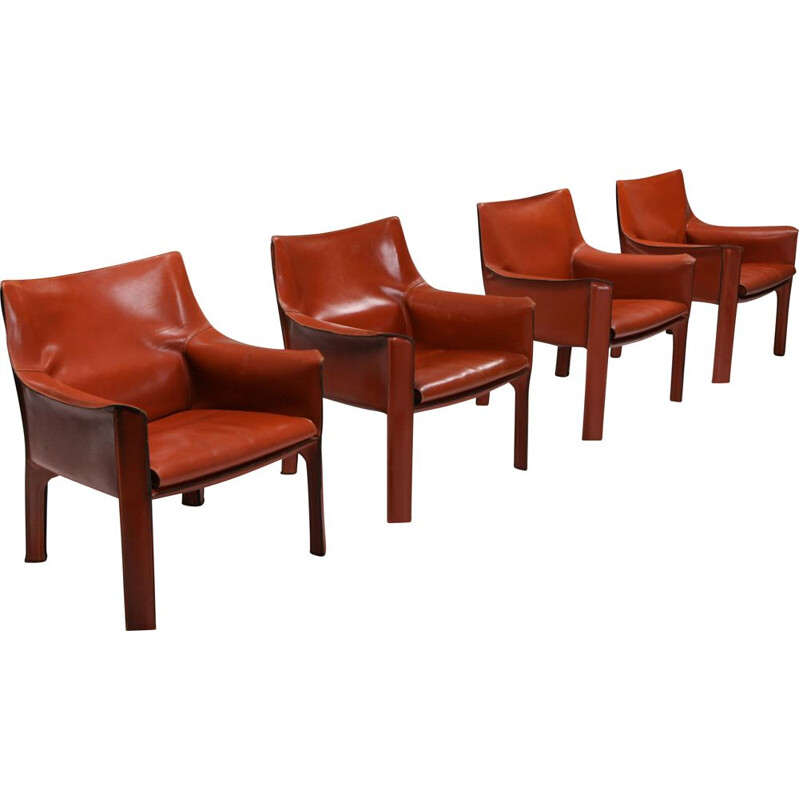 Set of 4 Vintage Armchair Mario bellini's CAB 414 - 1980s