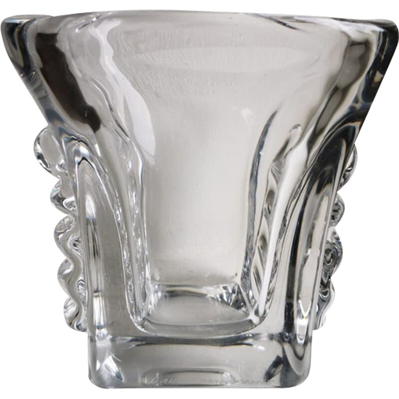 Vintage square crystal vase,Daum Nancy France 1960