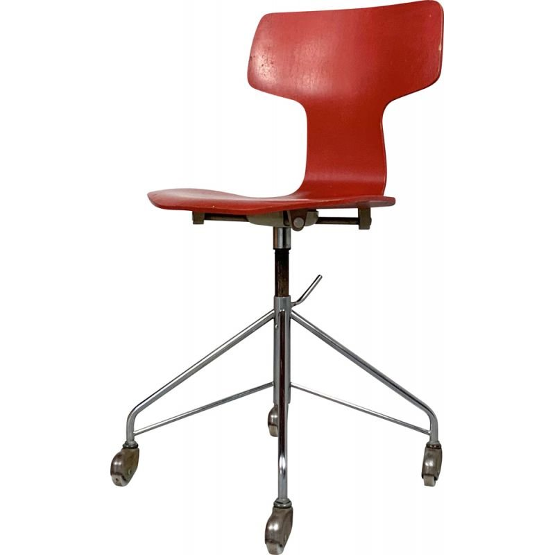Vintage 1st Edition FH3113 Swivel desk chair by Arne Jacobsen for Fritz Hansen, 1955