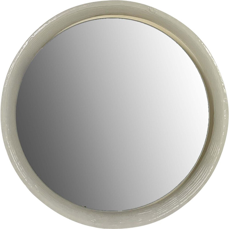 Vintage Glass Round Mirror by Egon Hillebrand for Hillebrand Lighting, 1970s