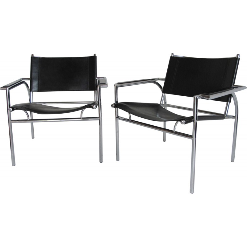 Incredible Pair Of Leolux Armchairs In Chrome Steel And Leather Gerard Vollenbrock 1980S Uwap Interior Chair Design Uwaporg