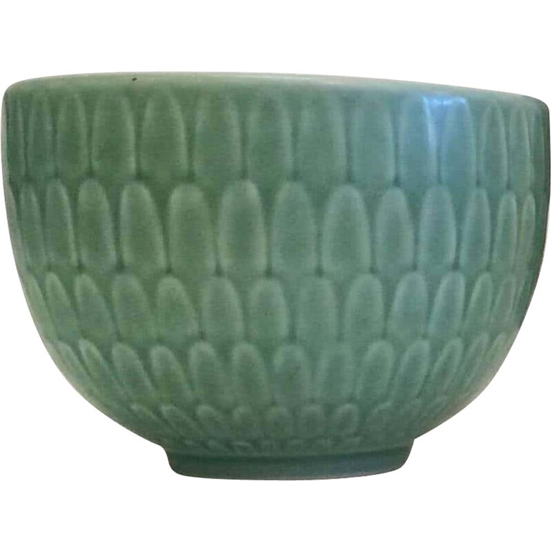 Vintage Small Green Faience Marselis Bowl Royal Copenhagen Nils Thorsson 1950s