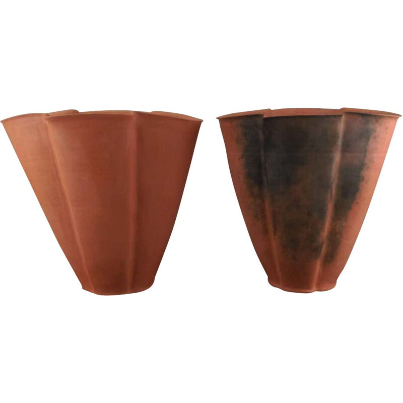 Pair of vintage Large Unglazed Earthenware Vases, Svend Hammershøi 1930