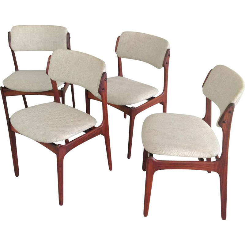 Set of 4 Vintage  Dining Chairs Rosewood  by Oddense Maskinsnedkeri Erik Buch Danish