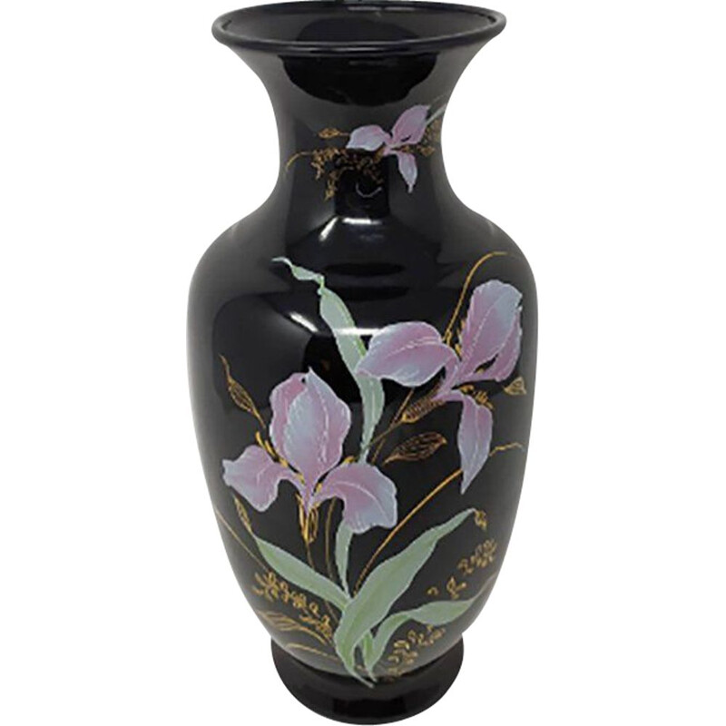 Vintage Ceramic Vase with Flowers Motifs, French 1950s